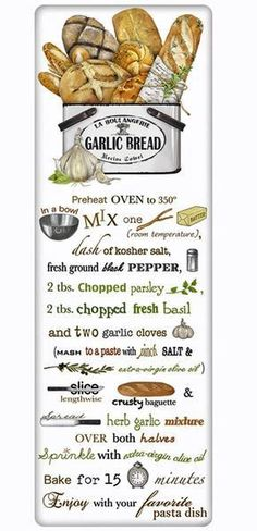We treasure the recipe dish towel! Discover flour sack towels for every cook's decor and holidays. Designed by Mary Lake Thompson, featuring a recipe for perfect garlic bread.