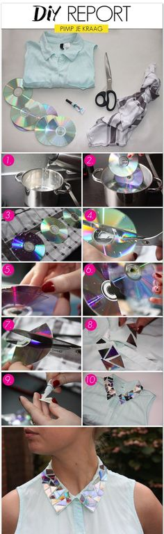 How to make stylish collar using CD-s. Interesting tutorial <3 - http://femour.com/how-to-make-stylish-collar-using-cd-s-interesting-tutorial-3/