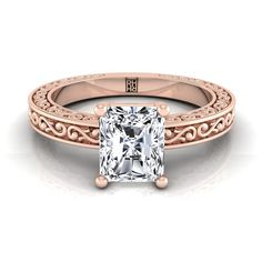 Radiant Cut Diamond Solitaire Engagement Ring With Scroll Detail Shank In Yellow Gold Radiant Cut Engagement Rings, Rose Gold Engagement Ring, Solitaire Engagement, Radiant Cut Diamond, Shank, Wedding Rings, Detail, Yellow, Jewelry