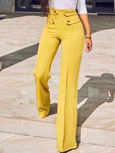 Shop Stylish Buttoned High Waist Wide Leg Pants – Discover sexy women fashion at Boutiquefeel Trend Fashion, Fashion Pants, Fashion Outfits, Womens Fashion, Girly Outfits, Cheap Fashion, Latest Fashion, Mode Jeans, Pantalon Large