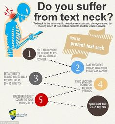 "( ""Text neck"" is a modern term created in response to the presentation of neck pain and headaches associated with the increases use of smartphones and hand held devices. Visit us for advice and relief! Chiropractic Humor, Chiropractic Office, Chiropractic Benefits, Chiropractic Therapy, Family Chiropractic, Physical Therapy Quotes, Physique, Dry Needling, Massage Marketing"