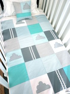 Etsy alphabetmonkey little cloud crib quilt gray/white/aqua