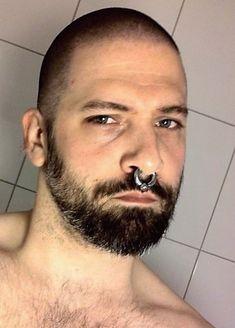 Septum Piercing Men, Mens Piercings, Body Piercing, Septum Ring, Nose Ring Men, Nose Rings, Scruffy Men, Body Mods, Bearded Men