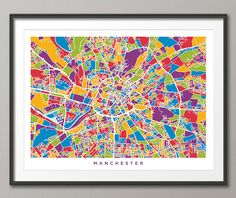 Manchester England Street Map Art Print 1372 by artPause on Etsy
