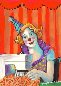 Sewing My Birthday Suit  Print Seamtress Clown Sewing Machine Circus Carnival Funky Folk Art