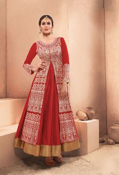 Red Dhupian Layer Ankle Length Anarkali Suit 63347
