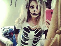 An easy DIY outfit with face paint and makeup is big on Pinterest this year — this skeleton costume is just a strategically cut t-shirt.