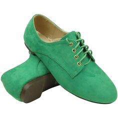Womens Ballet Flats Suede Lace Up Casual Comfort Shoes Green