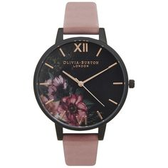Olivia Burton After Dark Black Dial Floral Watch - Rose & Rose Gold ($105) ❤ liked on Polyvore featuring jewelry, watches, gold jewelry, olivia burton, floral watches, gold wrist watch and black dial watches