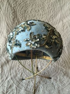 af2966d0049 Vintage Late 1950s Light Blue Felt Bubble Hat with Sequin Appliques and  Rhinestone Accents by Jack McConnell of New York