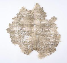 """Deficit"" Shredded money, thread, 32 x 25 inches, 2017 By Lisa Kokin"