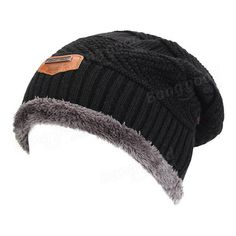 Men Male Knitted Slouch Beanie Hat Coral Fleece Linen Double Layers Elastic Moutaineering Outdoor Cap at Banggood