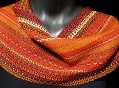 Hand Woven Bamboo Scarf, Orange Red Scarf. $190.00, via Etsy.