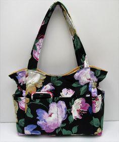 Black Gold Floral Shoulder Bag, Travel Handbag, Diaper Bag, Purple Flower Bag, Handmade Fabric Purse, Quilted Handbag, Sling Purse, Baby Bag by JustBeautiful161 on Etsy
