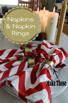 Napkin rings made from PVC pipe............napkins and rings from One Project Closer