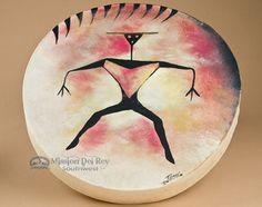 Painted Native Tarahumara One Sided Drum -Warrior