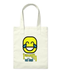 Laugh Out Loud Happy Face Natural Tote Bag Front