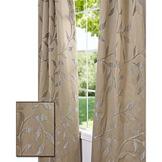 @Overstock - This window panel features a subtle sheen and a unique design with a raised leafy vine pattern in crème on a champagne-colored background.http://www.overstock.com/Home-Garden/Textured-Vine-Pale-Gold-108-inch-Jacquard-Curtain-Panel/6228333/product.html?CID=214117 $42.49