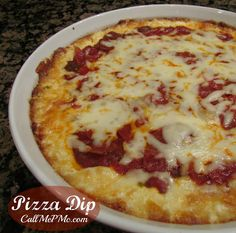 Pizza Dip ~ Customize this Pizza Dip to your tastes by adding all your favorite pizza toppings! Great for #parties, #tailgating, or sitting around in your jammies watching tv! Visit www.callmepmc.com for more great appetizers.