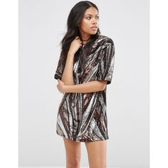Motel Flash Dress In 70s Sequin ($53) ❤ liked on Polyvore featuring dresses, black, sequin embellished dress, sequin dress, sequin cocktail dresses, tall dresses and zip back dress