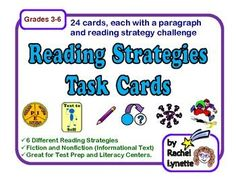 FREE Task Cards for six different Reading Strategies.