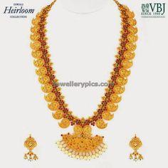 Latest Mango haaram design by VBJ with fillgree work on gold - Latest Jewellery Designs