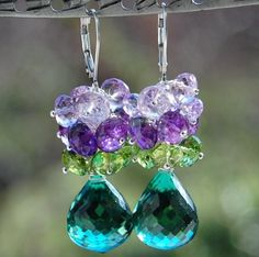 Amethyst, green, turqouise earrings (have)
