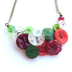 Bright Green Vintage button jewelry design ideas Pinterest