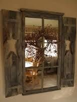 Old window + mirrors + primitive wreath + shutters = rustic and perfect Primitive Homes, Primitive Windows, Primitive Dining Rooms, Primitive Bathrooms, Country Primitive, Primitive Wreath, Primitive Shutters, Primitive Bedroom, Primitive Antiques
