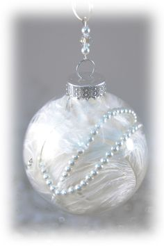 White Ostrich Feather Ornament - Feather and Pearl Christmas Ornament