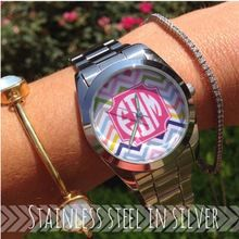 Chevron and Silver Monogram Watch | Color Choice