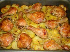 Sült csirkecomb tepsis burgonyával recept Sprouts, Shrimp, Potatoes, Dinner, Vegetables, Recipes, Food, Dining, Potato