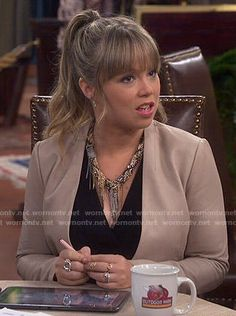 Kristin's nude leather jacket on Last Man Standing Kristin Baxter, Amanda Fuller, Collarless Leather Jacket, Cute Dress Outfits, Work Outfits, Business Fashion, Business Wear, Blonde Ombre