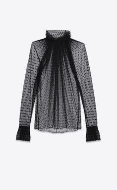 Saint Laurent - Ruffled blouse in black dotted swiss tulle