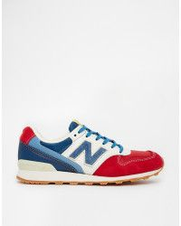New balance 996 Suede Red White Blue Sneakers in Red (Redblue) | Lyst