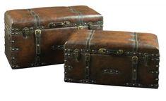 Vintage Storage Chest Trunk Set Antique Old Treasure Wooden Blanket Box 2 Pieces Deck Box, Leather Box, Leather Handle, Vintage Leather, Storage Trunk, Storage Chest, Dvd Storage, Extra Storage, Wooden Blanket Box