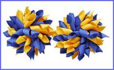 Dark Royal Blue Yellow Gold School Korker Hair Bows-school uniform, hair bows, bows, korker, curly, clips, bobbles, grosgrain ribbon, uk, scotland, korksnkurls