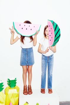 Zara denim lookbook w/ Mr P Giant Tropical Fruit
