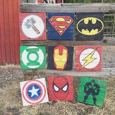 Superhero Sign Batman Superman Avengers by TheHandmadeSignCo Superhero Signs, Superhero Wall Art, Wood Pallet Signs, Wood Pallets, Wood Painting Techniques, Avengers Room, Marvel Room, Vintage Wood Signs, Vintage Art