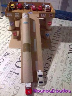 Cardboard Box Garage - great for an indoor activity for kids