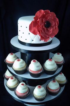 Big Red Flower Cake and Cupcakes