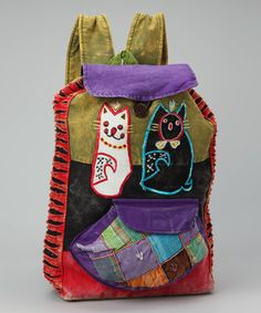 Look at this #zulilyfind! Green & Red Cat Backpack by Rising International #zulilyfinds