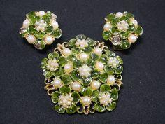 Vintage HOBE Set Brooch Pin/Brooch Clip Earrings Green Enamel Faux Pearls Flower #Hobe