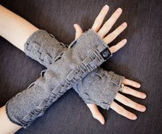 Fingerless Gloves, Handmade Wrist Warmers, Adjustable Length Arm Warmers, Mitts, Weave Hand Warmers in Fleece by Grey Matter