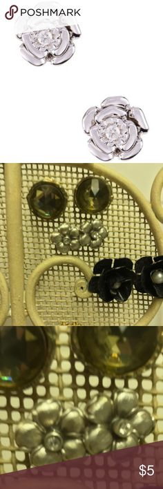 Anthropologie Silver Flower Stud Earrings Anthropologie silver flower stud earrings with crystal center 🌟 Bundles accepted! 🌟 15% off 2+ items ❌ PayPal ❌ trades  **first photo is a different, but similar, item Anthropologie Jewelry Earrings