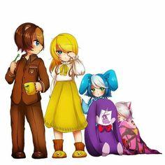 The toys as little kids! I love toy bonnie and mangle! So kawaii!