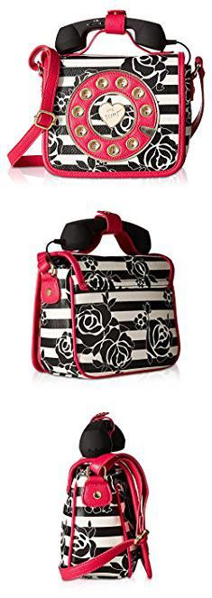 Betsey Johnson Telephone Handbag. Betsey Johnson Women's Phone Bag Crossbody Stripe Crossbody Bag.  #betsey #johnson #telephone #handbag #betseyjohnson #johnsontelephone #telephonehandbag Betsey Johnson, Women's Handbags, Wicker, Lunch Box, Crossbody Bag, Stripes, Stuff To Buy, Bento Box, Hand Bags