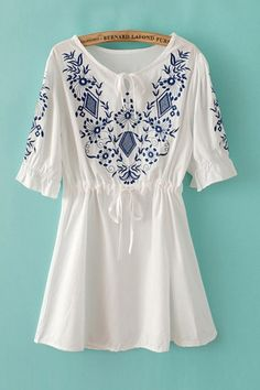 Vintage Floral Embroidery Half Sleeve Dress