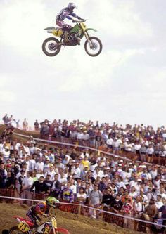 Jeff Emig and his teammates Jeremy McGrath and Steve Lamson were literally head and shoulder above everyone else in Spain in Emig won the 500 class with a finish. Motocross Racer, Motocross Bikes, Vintage Motocross, Vintage Racing, Suzuki Motocross, Mx Bikes, Mx Racing, Road Racing, Vintage Bikes