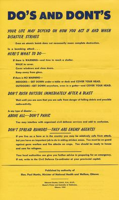 Canadian Civil Defence Cold War pamphlet Do's and Dont's 1952